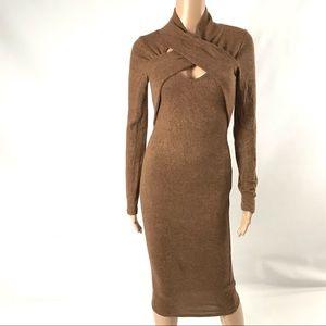 A+ Ellen Women's Sweater Dress Size M Brown